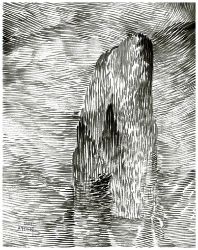 homage to Bocklin, drawing by Bill Ayton